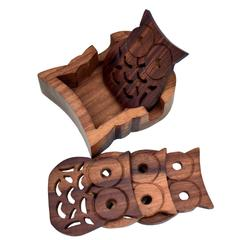 Purpledip Wooden Coaster Set 'Night Forest': 4 Owl Shaped Coasters (10789)