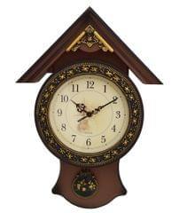 Purpledip Quartz Wall Clock with Pendulum for living room , office, Vintage look, Made of Fibre (10799)