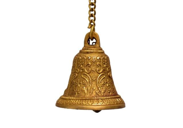 Purpledip Brass Hanging Bell: For Home Temple, Door, Hallway, Porch Or Balcony; Unique Décor Gift (10783)