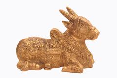 Purpledip Rare Collection Nandi Bull Statue: Brass Idol With Intricate Sculpting (10923)