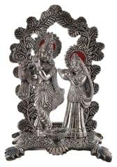Purpledip Janamashtmi Special Radha Krishna Statue with Diya in Oxidised White Metal, Unique D�cor Indian Gift (10925)