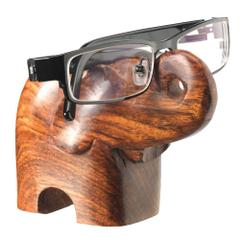 Purpledip Wooden Elephant Spectacles Goggles Holder Stand: Memorable Gift (10936)