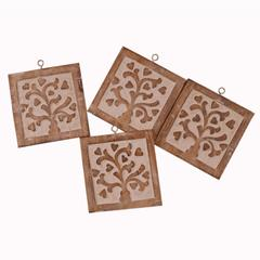 Purpledip Wooden Coasters Set 'Fascinating Flora': Doubles Up As Wall Panel Set; Unique Housewarming Anniversary Gift (10937)