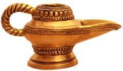 Purpledip Brass Lamp Anajli Holder: Magic Lamp Or Aladin's Chirag Shape Charan Amrit Vessel For Home Temple (10913)