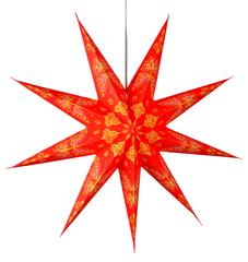 Purpledip 9 Pointed Star Made of Handmade Paper used as Hanging Lantern for Christmas, New Year, Birthday Party Decoration,60 cms (chst06)