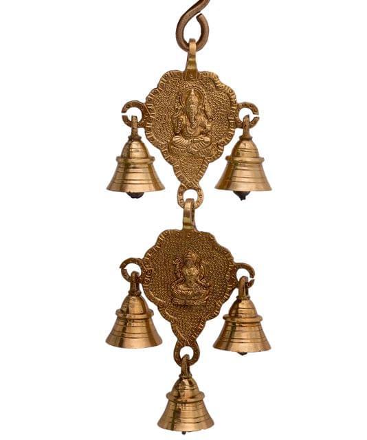 Purpledip Brass Antique Finish Ganesha Lakshmi Bell Wall Hanging (10767)