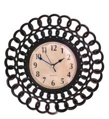 Purpledip Wall Clock Antique Metal Finish & Vintage-feel Dia (10770)