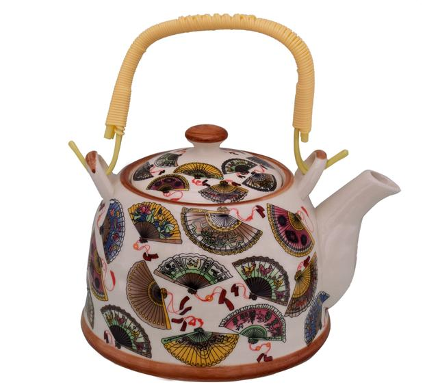 Purpledip Beautifully Painted Ceramic Kettle Tea Pot (10774)