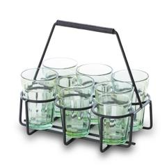 Purpledip Cutting Chai Glasses to Serve Tea Set of 6 with Tray (10778)