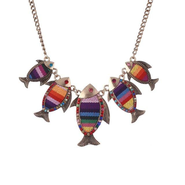 Purpledip Funky Necklace With Colorful Fish Pendants (30101)
