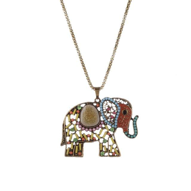 Purpledip Necklace With Long Chain And Colorfully Embellished Funky Metal Elephant Pendant (30102)