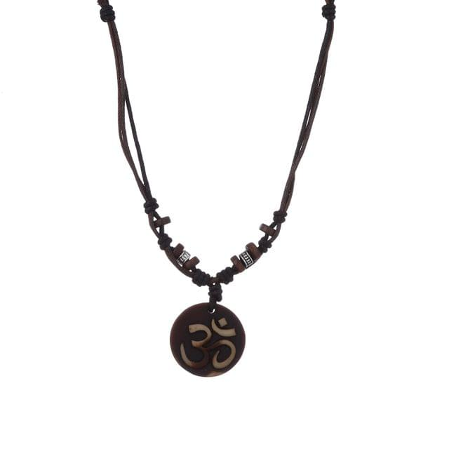 """Purpledip Necklace Chain """"Om"""": Unique Pendant With Adjustable Cotton Cord 