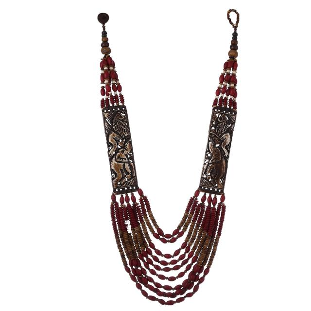 Purpledip Multistrand Necklace With Stunning Bone Carving of Elephants, Classy Cool Contemporarry Look (30106)