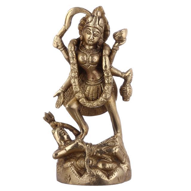 Purpledip Maa Kali Brass Statue: Hindu Religious Goddess Devi Idol, Indian Deity Handmade Sculpture (10949)