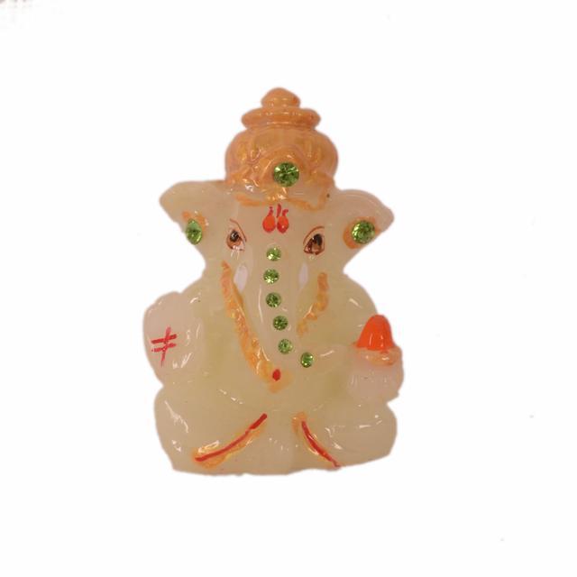 Purpledip Lord Ganesha (Ganapathi/Vinayaka) Glowing Idol: Radium Painted Statue With Night-Glow or Glow In The Dark Effect For Home Temple, Car Dashboard (10956)
