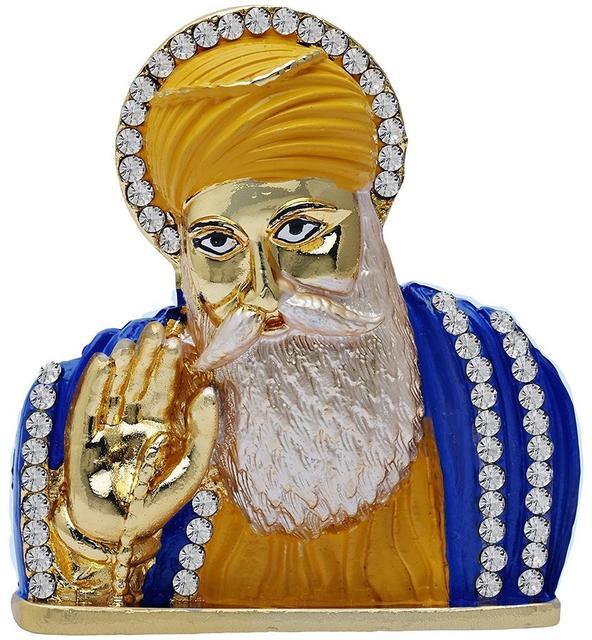 Purpledip Guru Nanak Dev Small Metal Statue: Sikh Religious Idol  For Home Temple, Car Dashboard, Office Table Or Shop Counter (10960)