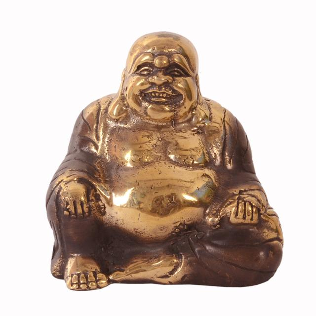 Purpledip Vintage Laughing Buddha Statue In Solid Brass Metal With Unique Copper Polish: Harbinger Of Wisdom And Wealth - Use as Home Decor Showpiece For Vastu Feng-Shui (10966)