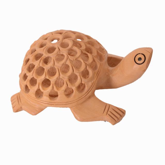 Purpledip Wooden Tortoise/Turtle With Jaali Carving Work; Miniature Idol Gift Vaastu Feng Shui Good Luck Charm (10980)