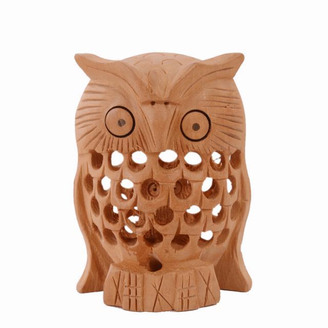 Purpledip Wooden Owl With Jaali Carving Work; Miniature Idol Gift Vaastu Feng Shui Good Luck Charm (10981)
