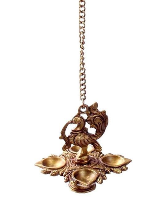 Purpledip Brass Peacock Hanging Diya Deepak Oil Lamp In Copper Finish: For Home Temple, Door, Hallway, Porch Or Balcony; Unique D�cor Gift (10982)