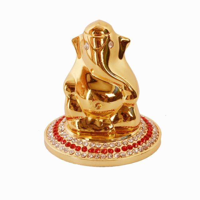 Purpledip Lord Ganapati (Hindu Religious God) Idol for Table Top, Home Temple, Car Dashboard Statue (10987)