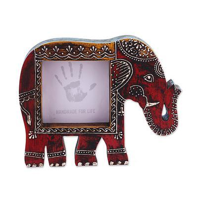 Purpledip Artistic Photoframe Wooden Elephant Shaped for 4x4 inch photo size Unique Indian souvenir (10988)