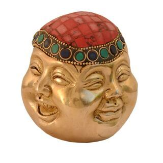 Purpledip Laughing Buddha Statue Four Faces Of Life (Joy, Sorrow, Anger & Serenity): Pure Brass Metal With Gemstones; Feng Shui Good Luck Charm (10992)