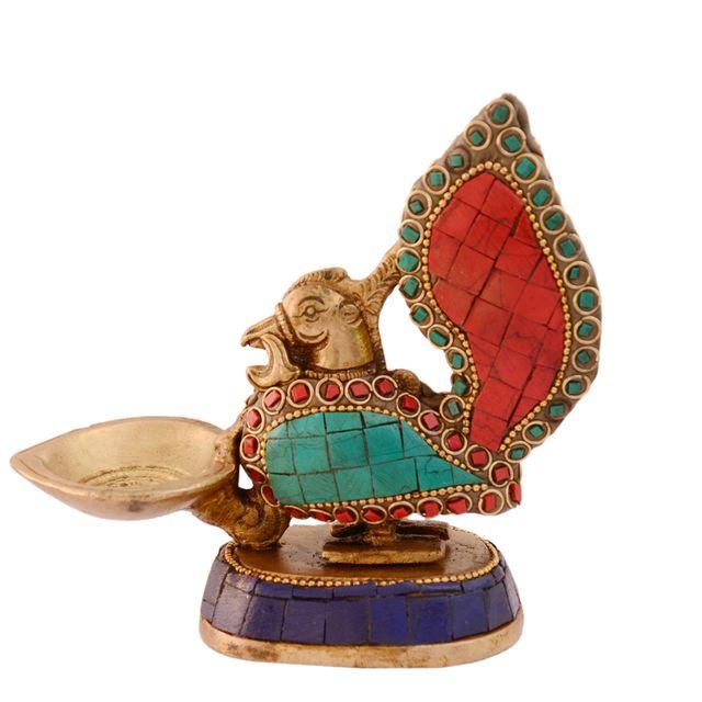 Purpledip Unique Peacock Deepak Deepam Diya (Kuthu Vilakku) In  Pure Brass with Spectacular Gemstonework, Indian Religious Gift Ideas (10995)