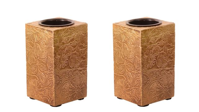 Purpledip Wooden T Light Candle Holders with Brass Sheet Cover (Set of 2) Golden , Indian souvenir, gift (10997)
