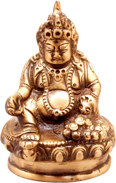 Purpledip Brass Statue Kubera (Hindu God Of Wealth & Prosperity): Kuber Vaisravana Sarvanubhuti Idol In Pure Metal; Regious Indian Home Temple Decor (11031)