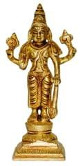 Brass Statue Lord Vishnu: Hindu God Idol Sculpture Home Temple Decor Gift (11033)