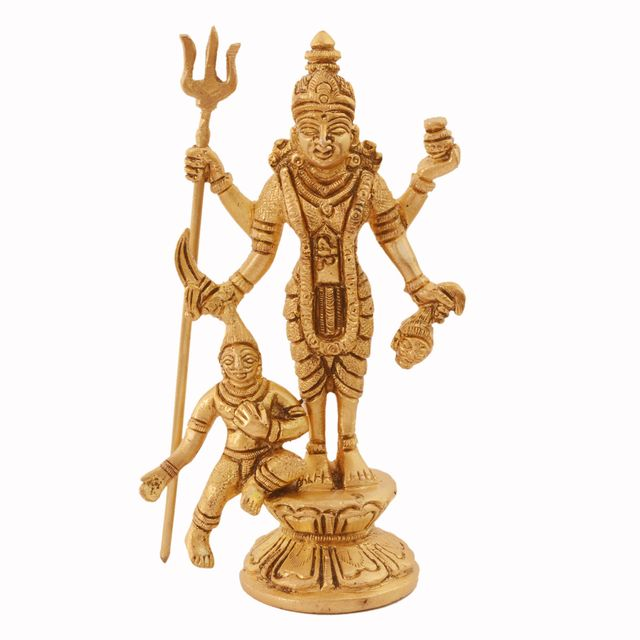 Purpledip Maa Kali Brass Statue: Hindu Religious Goddess Devi Idol, Indian Deity Handmade Sculpture (11034)