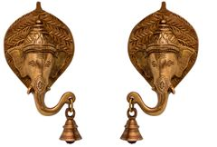 Purpledip Brass Wall Hanging Antique Finish Ganesha  Bell (Set Of 2): Symmetrical Heads For Peace, Harmony & Balance An Home (11037)