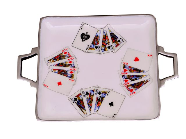 Purpledip Poker Bridge Playing Cards Serving Tray In Colorful Aluminium, Unique Table Decor Gift (11039)