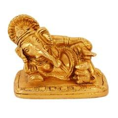 Brass Idol Ganesha in Reclining/Sleeping Posture, Unique Avatar of Hindu Elephant God, Indian Decor Religious Gift (11041)