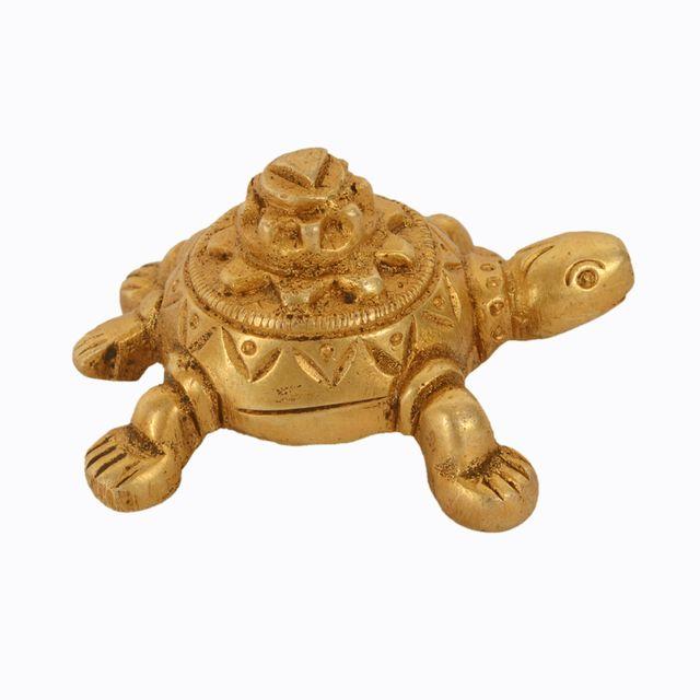 Purpledip Tortoise/Turtle Statue: Solid Brass Metal Idol  With Mount Meru For Home Temple; Good Luck Symbol In Feng Shui Vaastu (11042)