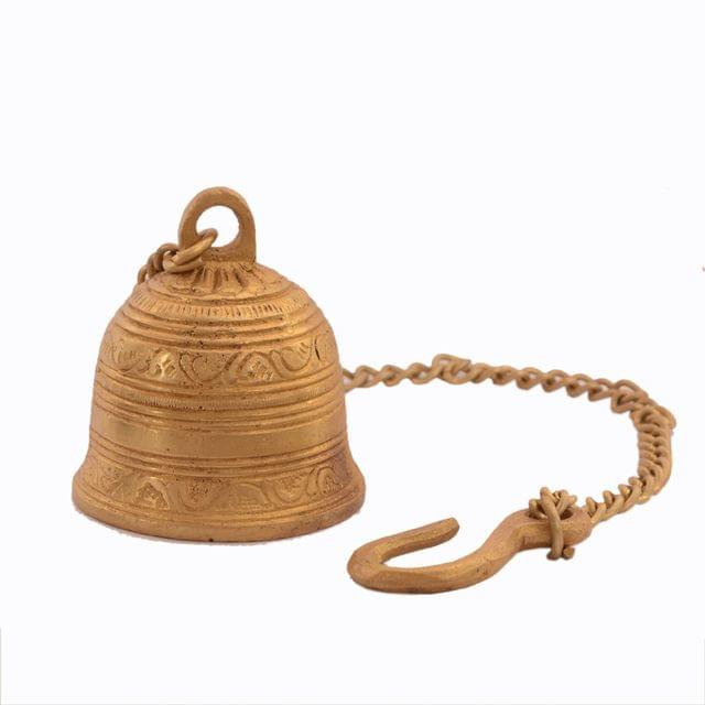Purpledip Beautiful Brass Hanging Bell With Unique Sculpting: For Home Temple, Door, Hallway, Porch Or Balcony; Memorable Decor Gift (11046)