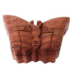 Purpledip Magic Wooden Puzzle Box 'Butterfly': Handmade Mystery Keepsake Box Game Gift (11060)