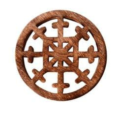 Purpledip Wooden Trivet 'Stellar Snowflake' Coaster Hot Pad Mat For Dining Table, Kitchen  (11064)