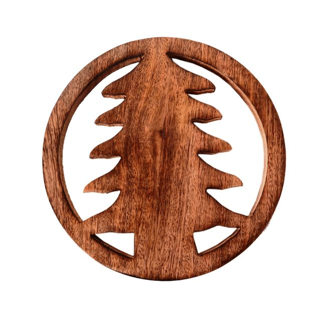 Purpledip Wooden Trivet 'Christmas Tree' Coaster Hot Pad Mat For Dining Table, Kitchen  (11065)