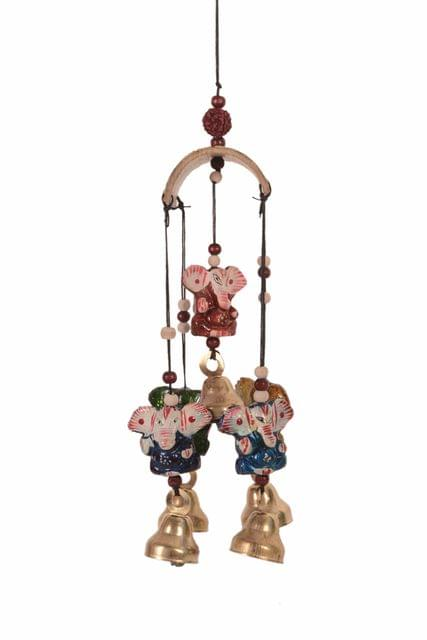 Purpledip Wind Chime With Ganesha Statues & Bells: Soothing Sounds For Good Luck & Positive Energy (11084)