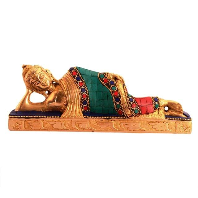 Purpledip Rare Collection Buddha Idol In Reclining/Sleeping/Resting Pose: Pure Brass Idol With Magnificient Gemstones (11089)