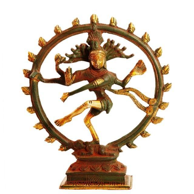 Purpledip Brass Statue Nataraja (Shiva Siva In Dance):  Rare Copper Green Antique Finish For Home Temple Mandir Showpiece (11095)