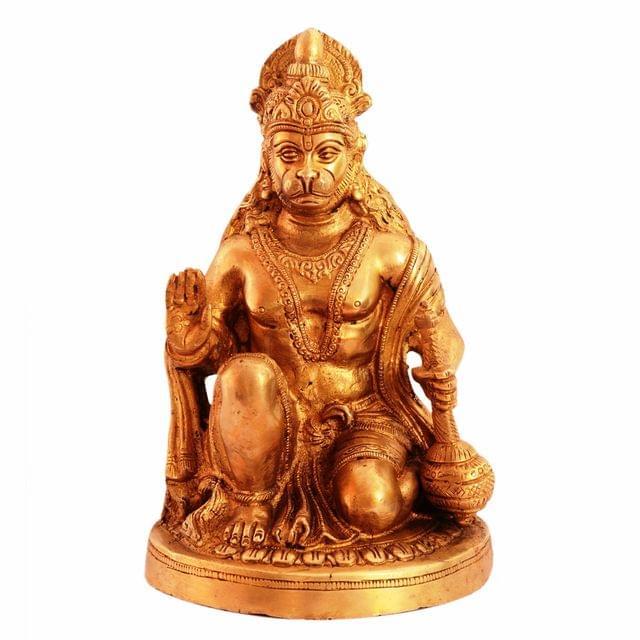 Purpledip Brass Idol Lord Hanuman/ Bajrangbali (Hindu Religious God) For Home Temple (11098)