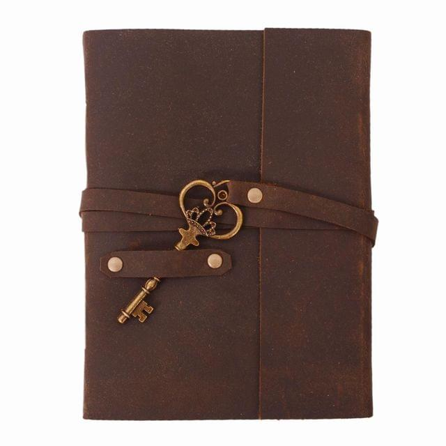 Purpledip Leather Journal (Diary Notebook) 'Key To Success': Naturally Treated Paper In Leather Cover With Unique Brass Key For Corporate Gift Or Personal Memoir (11102)