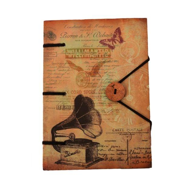 Purpledip Vintage Journal (Diary Notebook) 'Sound Of Music': Naturally Treated Paper In Digital Print Hard Cover With Button & String Closure For Personal Memoir Or unique Gift (11106)