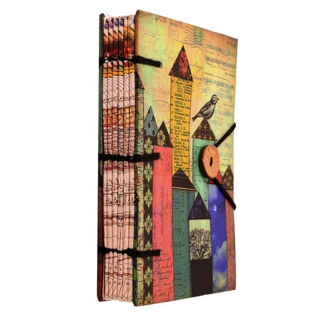 Purpledip Vintage Diary / Journal / Notebook 'Urban Jungle': Naturally Treated Paper In Digital Print Hard Cover With Unique Button & String Closure For Personal memoir Or Corporate Gift (11111)