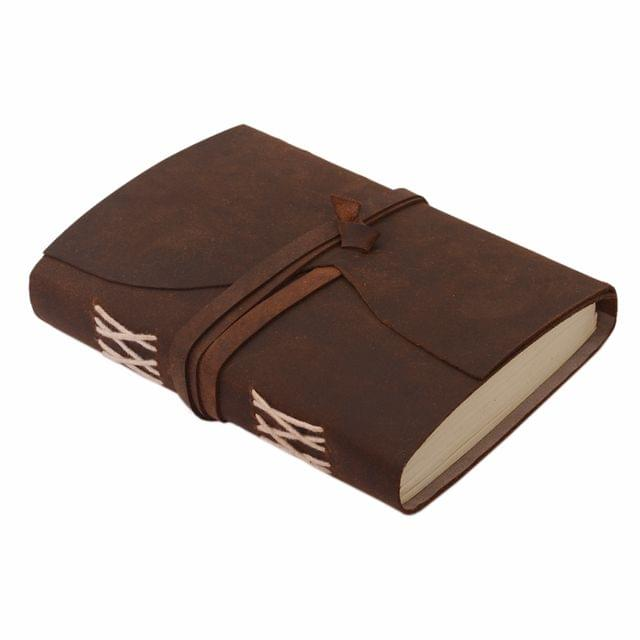 Purpledip Leather Journal (Diary Notebook) 'Infinity Loop': Naturally Treated Paper In Oil Pull-up Leather Cover Button Strap For Corporate Gift Or Personal Memoir (11114)