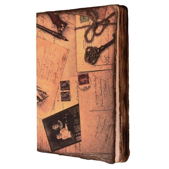 Purpledip Handmade Journal (Vintage Diary) 'Love Letters': Fire Burnt Handmade Paper Notebook; Unique Gift For Personal Memoir (11116)