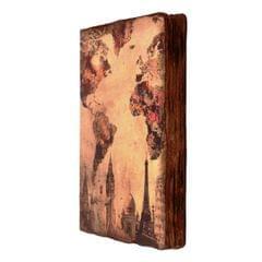 Purpledip Handmade Journal (Vintage Diary) 'One World': Fire Burnt Handmade Paper Notebook; Unique Gift For Personal Memoir (11120)